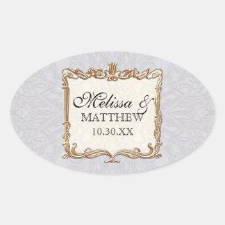 Gatsby Art Deco Nouveau Lace Faux Gold Tulip Sticker