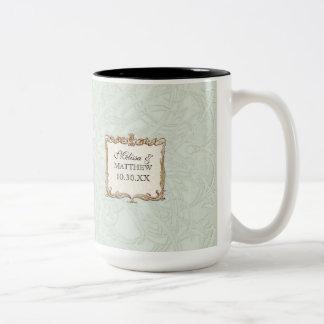 Gatsby Art Deco Nouveau Lace Faux Gold Tulip Two-Tone Coffee Mug