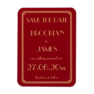 Gatsby Art Deco Red Wedding Save The Date Magnet