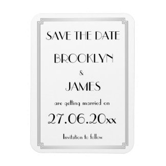 Gatsby Art Deco Silver Save The Date Magnet