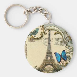 gatsby art deco swirls Vintage paris eiffel tower Keychain