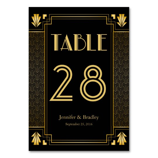 Gatsby Art Deco Table Number Editable Color