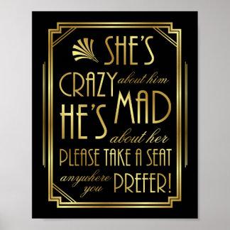 Gatsby Art Deco WEDDING SEAT Sign Print