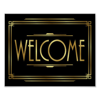 Gatsby Art Deco WELCOME Sign Print