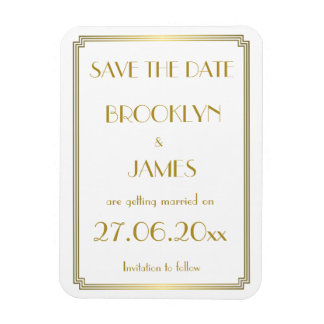 Gatsby Art Deco White Wedding Save The Date Magnet