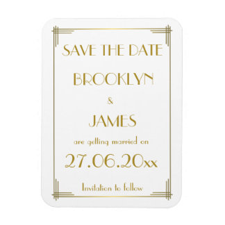 Gatsby Gold Art Deco Wedding Save The Date Magnet