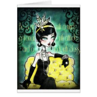 Gatsby, hembra, rugido 20s tarjeta de felicitación