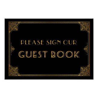 Gatsby inspired wedding sign Guest Book Poster