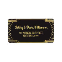 Gatsby Return Address Label Art Deco Wedding 1920s