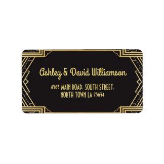 Gatsby Return Address Label Art Deco Wedding 1920s