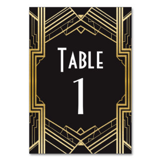 Gatsby Table Number 1920's Roaring 20s Wedding