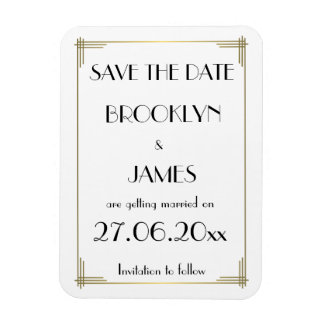 Gatsby White Art Deco Wedding Save The Date Magnet