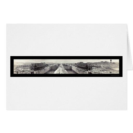 Gatun cierra la foto 1913 de Panamá Felicitación