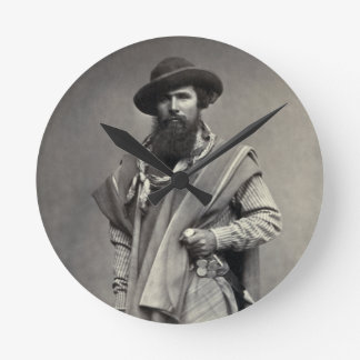 Gaucho of the Argentine Republic 1868 Round Clock