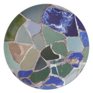 Gaudi Blue Mosaics Dinner Plate