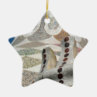 Gaudi Castle Abstract Double-Sided Star Ceramic Christmas Ornament