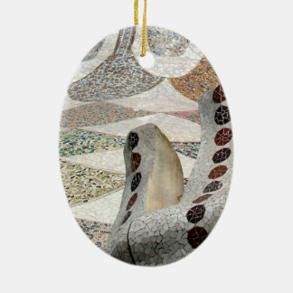 Gaudi Castle Double-Sided Oval Ceramic Christmas Ornament