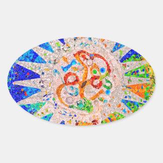 Gaudi Detail Blue Oval Sticker
