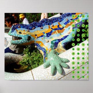 Gaudi Lizard Hand & Green Flowers poster
