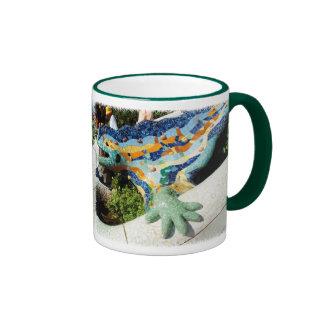 Gaudi Lizard Mosaics Ringer Mug