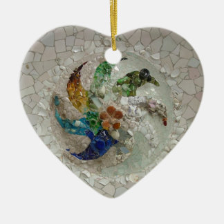 Gaudi Mosaic Double-Sided Heart Ceramic Christmas Ornament