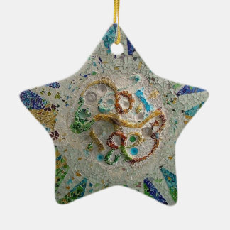 Gaudi Mosaic Double-Sided Star Ceramic Christmas Ornament