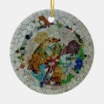 Gaudi Mosaic Double-Sided Ceramic Round Christmas Ornament