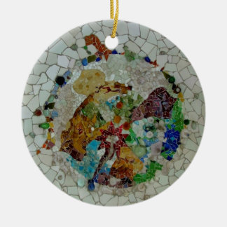 Gaudi Mosaic Double-Sided Ceramic Round Christmas Ornament
