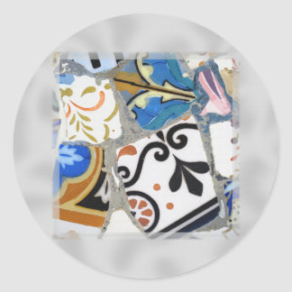Gaudi Mosaic Pattern Classic Round Sticker