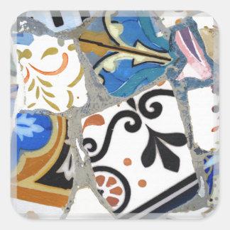 Gaudi Mosaic Pattern Square Sticker
