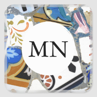 Gaudi Mosaic Pattern with Monogram Square Sticker