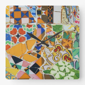 Gaudi Mosaic Tile Square Wall Clock