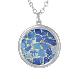 Gaudi Mosaics With an Oil Touch Silver Plated Necklace
