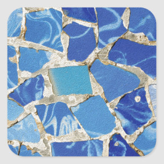 Gaudi Mosaics With an Oil Touch Square Sticker