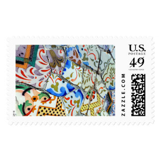 Gaudi s Park Guell Mosaic Tiles Postage Stamp