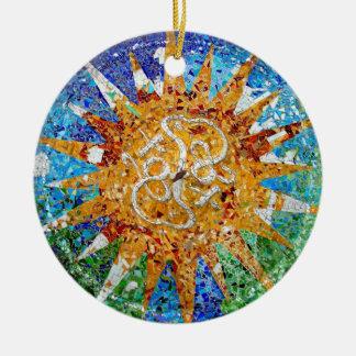 Gaudi Sunburst Mosaic Ceramic Ornament