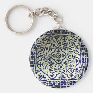 Gaudi's Park Guell Mosaic Tiles Barcelona Basic Round Button Keychain