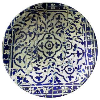 Gaudi's Park Guell Mosaic Tiles Barcelona Porcelain Plate