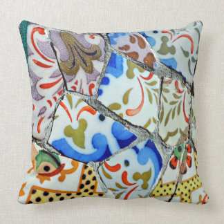 Gaudi's Park Guell Mosaic Tiles Throw Pillow