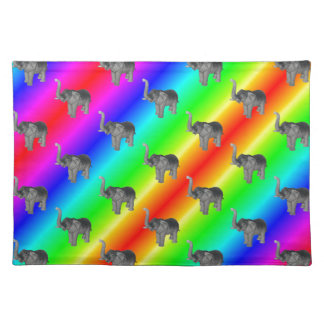 Gaudy Bright Rainbow Elephant Pattern Cloth Placemat
