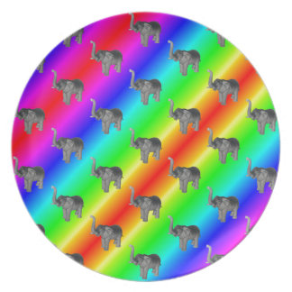 Gaudy Bright Rainbow Elephant Pattern Melamine Plate