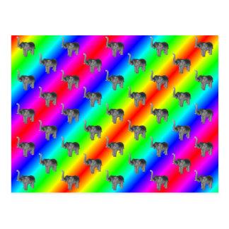 Gaudy Bright Rainbow Elephant Pattern Postcard