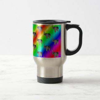 Gaudy Bright Rainbow Elephant Pattern Travel Mug
