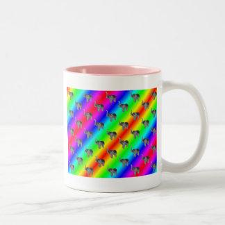 Gaudy Bright Rainbow Elephant Pattern Two-Tone Coffee Mug