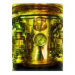 Gauge and Two Brass Lanterns on Fire Truck Post Card