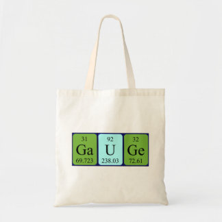 Gauge periodic table name tote bag