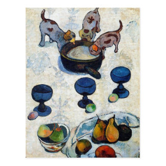 Gauguin Art Postcard: Still Life with 3 Puppies Postcard