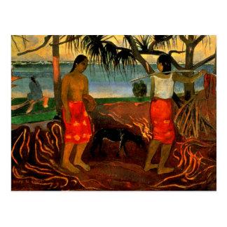Gauguin - Beneath the Pandanus Tree Postcard