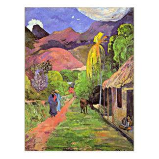 Gauguin - camino en Tahití Postal