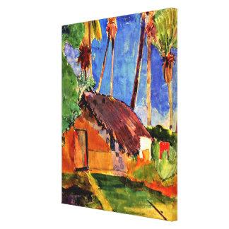 Gauguin - choza cubierta con paja debajo de las impresión en lienzo
